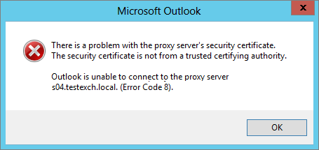 outlook is unable to connect to the proxy server