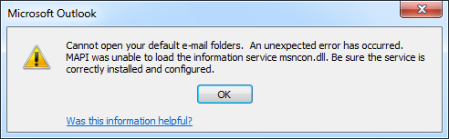cannot open your default email folders