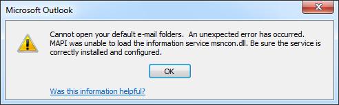 não pode abrir suas pastas de e-mail padrão
