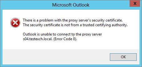 O Outlook não consegue se conectar ao servidor proxy