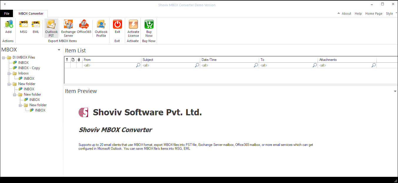 Export MBOX files to PST-03