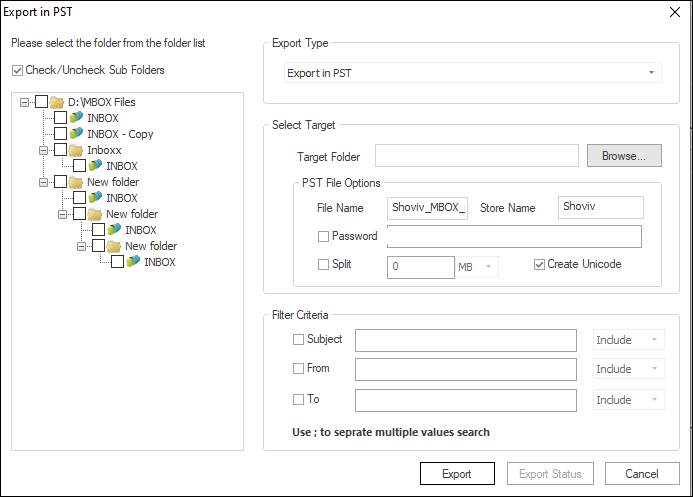 Export MBOX files to PST-04