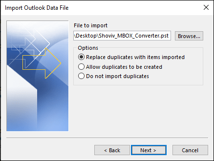 Export MBOX files to PST-11