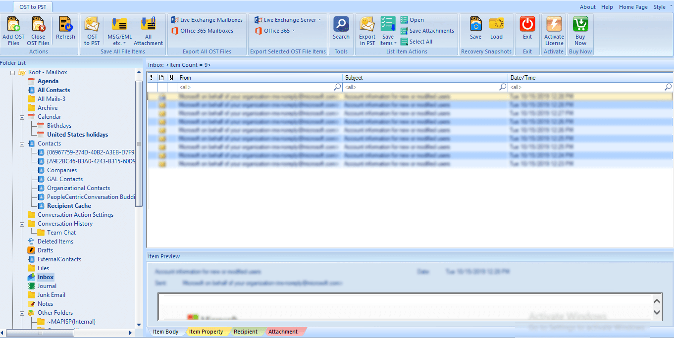 Select OST file