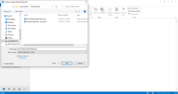 How to create PST file in Outlook new 3