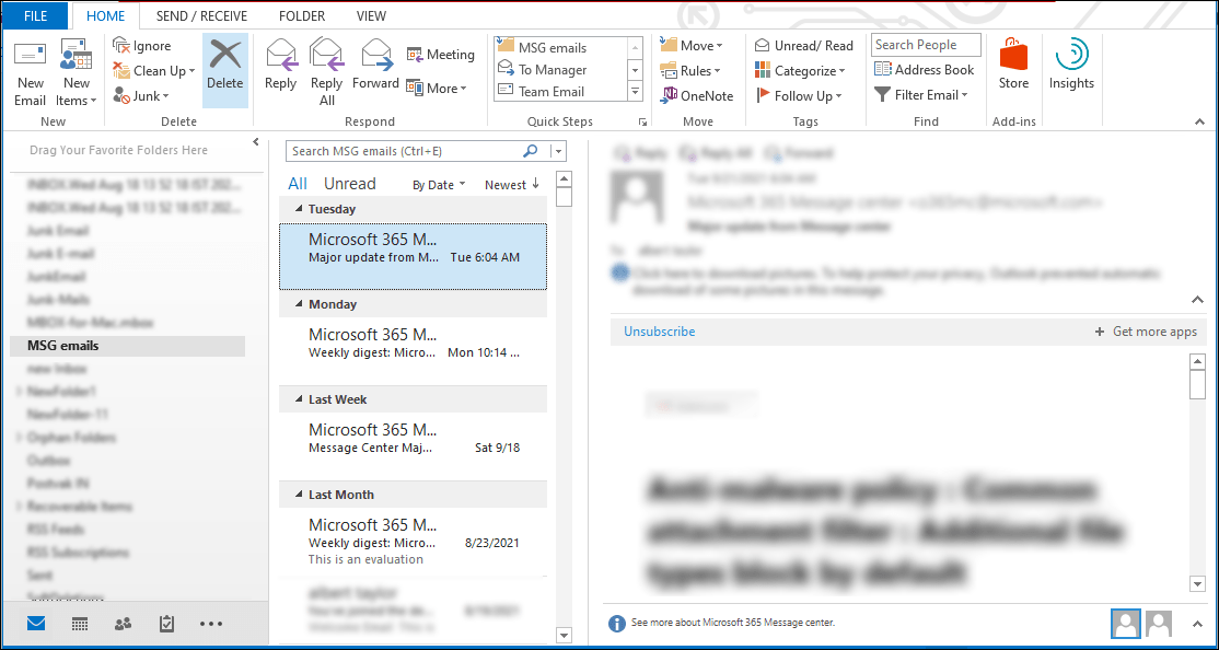 Import MSG files into Outlook -3