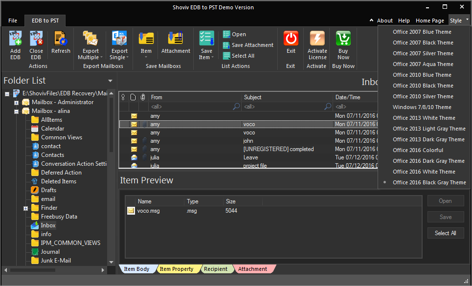 GUI In Office 2016 Black Grey Theme