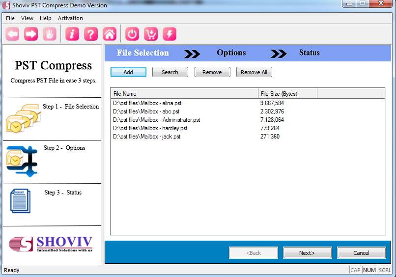 Compress PST File Screen shot
