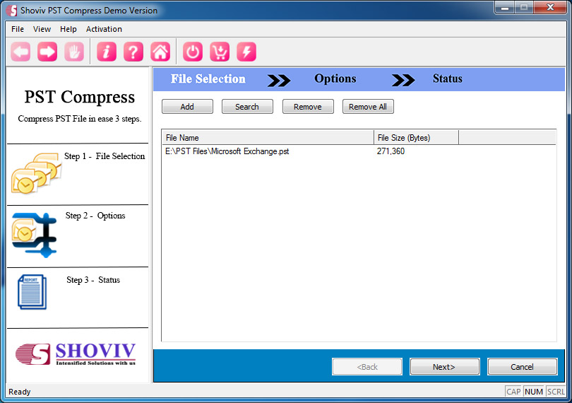 Add PST file to Compact and Compress