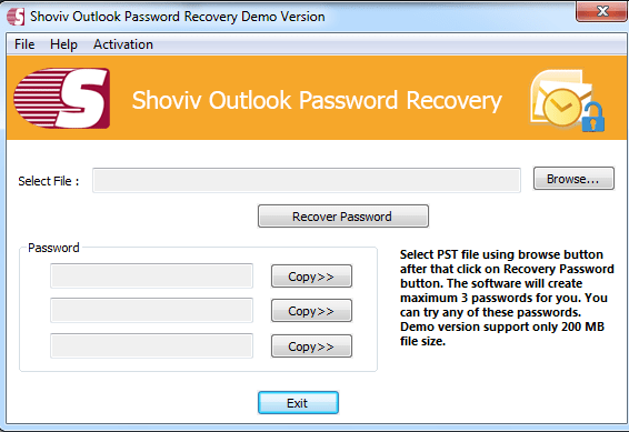 PST Password Recovery Screen shot