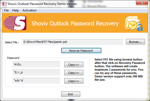 Recover PST file Password